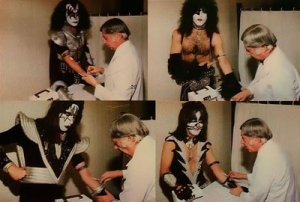 Doctors drawing blood from KISS in 1977- we are infintely more hardcore and collected our samples with Q-tips