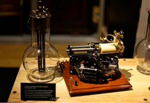 "Early Thomas Edison phonograph recorder with white ""earwaxy"" cylinder molded by Shawn Borri"